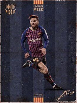 FC Barcelona - Messi Vintage Art Print