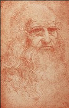 Portrait of a man in red chalk - self-portrait Art Print