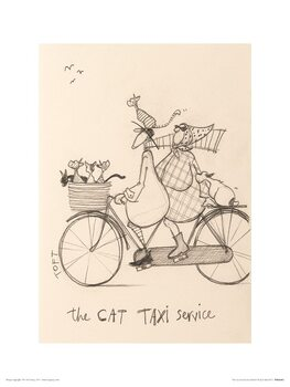 Sam Toft - The Cat Taxi Service Art Print