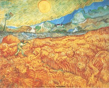 Wheat Field with Reaper, 1889 Art Print
