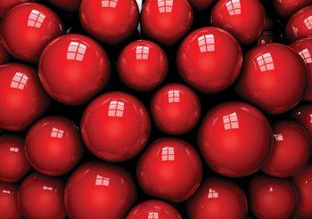 Balles rouges abstraites et modernes Poster Mural