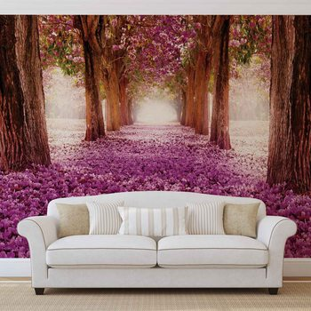 Chemin d'arbre des fleurs rose Poster Mural