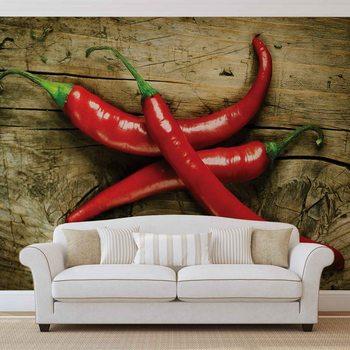 Chilis chauds Alimentation Bois Poster Mural