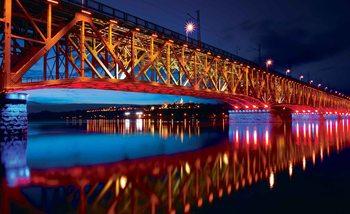 City Skyline Bridge Reflection Night Poster Mural
