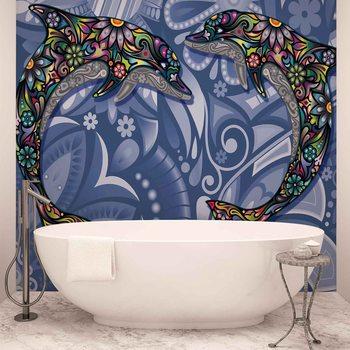 Couleurs abstraites des fleurs de dauphins Poster Mural