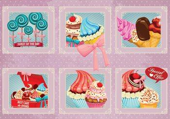Cupcakes Pink Retro Poster Mural