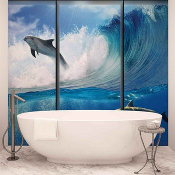 Dolphins Sea Wave Jump Poster Mural