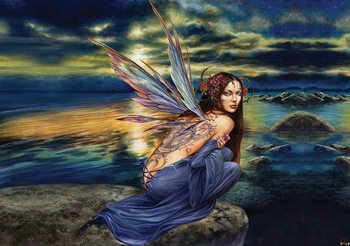 Fairy Sea Flowers Wings Poster Mural