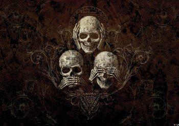 Non Ecoutez See Speak Skull Alchemy Poster Mural