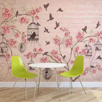 Oiseaux Cherry Blossom Pink Poster Mural