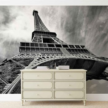 Paris Eiffel Tower Black White Poster Mural