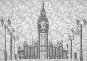 Résumé Floral London Design Poster Mural