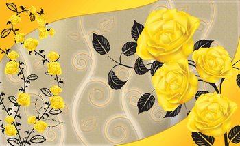 Roses Fleurs jaunes Résumé Poster Mural