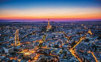 Ville Paris Sunset Tour Eiffel Poster Mural