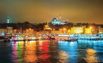 Ville Turquie Bosphore Multicolore Poster Mural