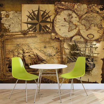 Vintage Ships and Maps Poster Mural