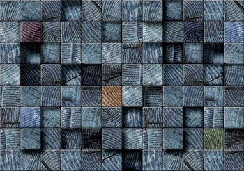 Wood Blocks Texture Dark Grey Poster Mural