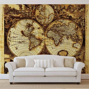 World Map Vintage Poster Mural