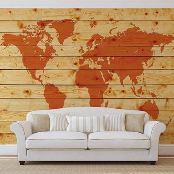 World Map Wood Planks Poster Mural