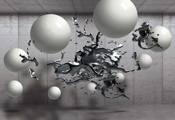 3D Abstract Design Molten Metal Balls Wallpaper Mural