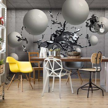 3D Abstract Design Molten Metal Balls Wallpaper Mural