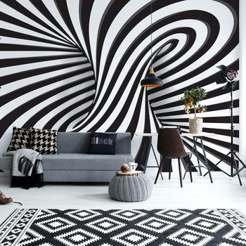 3D Black And White Twister Wallpaper Mural