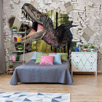 3D Dinosaur Bursting Through Brick Wall Wallpaper Mural