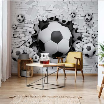 3D Footballs Bursting Through Brick Wall Wallpaper Mural
