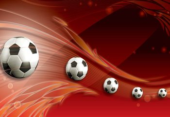 3D Footballs Red Background Wallpaper Mural