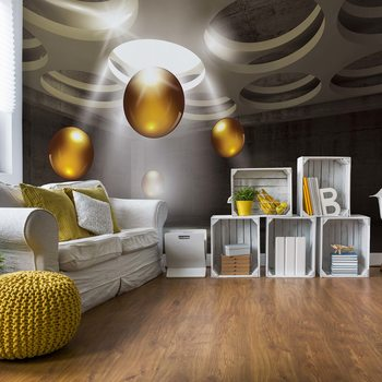 3D Modern Design Gold Spheres Wallpaper Mural