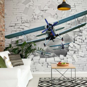 3D Plane Bursting Through Brick Wall Wallpaper Mural