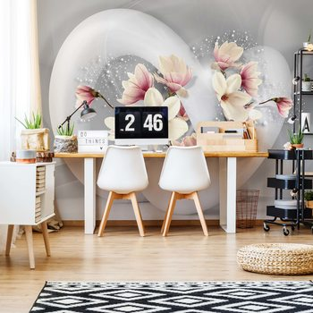 3D Structure Flowers White And Grey Wallpaper Mural