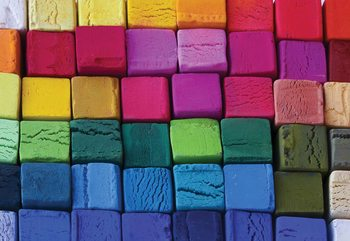 3D Wood Blocks Multicoloured Wallpaper Mural