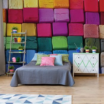 3D Wood Blocks Multicoloured Wallpaper Mural