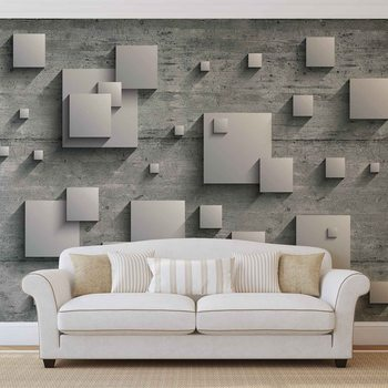 Abstract Modern Grey Silver Wallpaper Mural