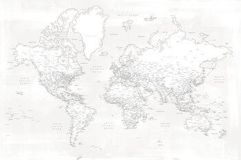 Wallpaper Mural Almost white detailed world map