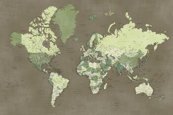 Wallpaper Mural Army green detailed world map, Camo
