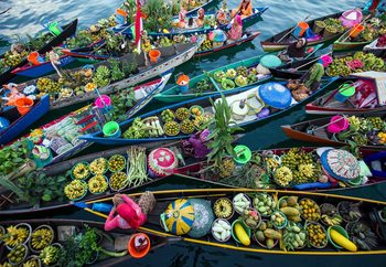 Banjarmasin Floating Market Wallpaper Mural