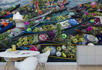 Banjarmasin Floating Market Wallpaper Mural