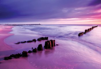 Beach Purple Sunset Sea Wallpaper Mural