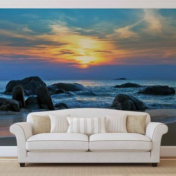 Beach Rocks Sea Sunset Sun Wallpaper Mural