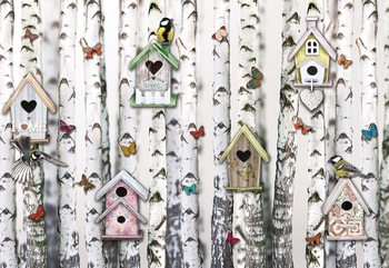 Birch Trees And Birdhouses Vintage Chic Wallpaper Mural