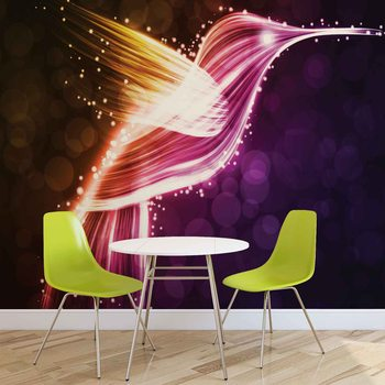 Bird Hummingbird Neon Colours Wallpaper Mural