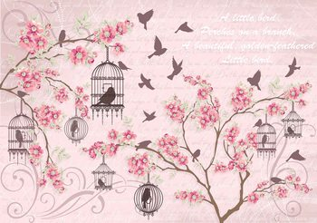 Birds Cherry Blossom Pink Wallpaper Mural