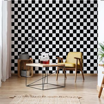 Black And White Checkered Pattern Wallpaper Mural