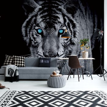 Black And White Tiger Blue Eyes Wallpaper Mural