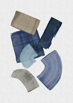 Wallpaper Mural Blue & Brown Paint Blocks