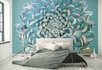Blue Chrysanth Wallpaper Mural