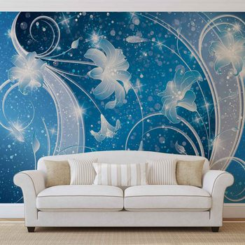 Blue Silver Floral Abstract Wallpaper Mural