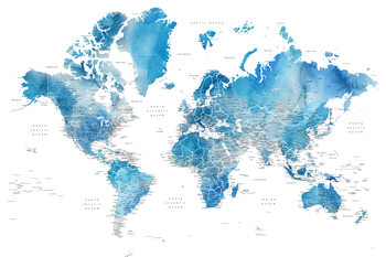 Blue watercolor world map with cities, Raleigh Wallpaper Mural